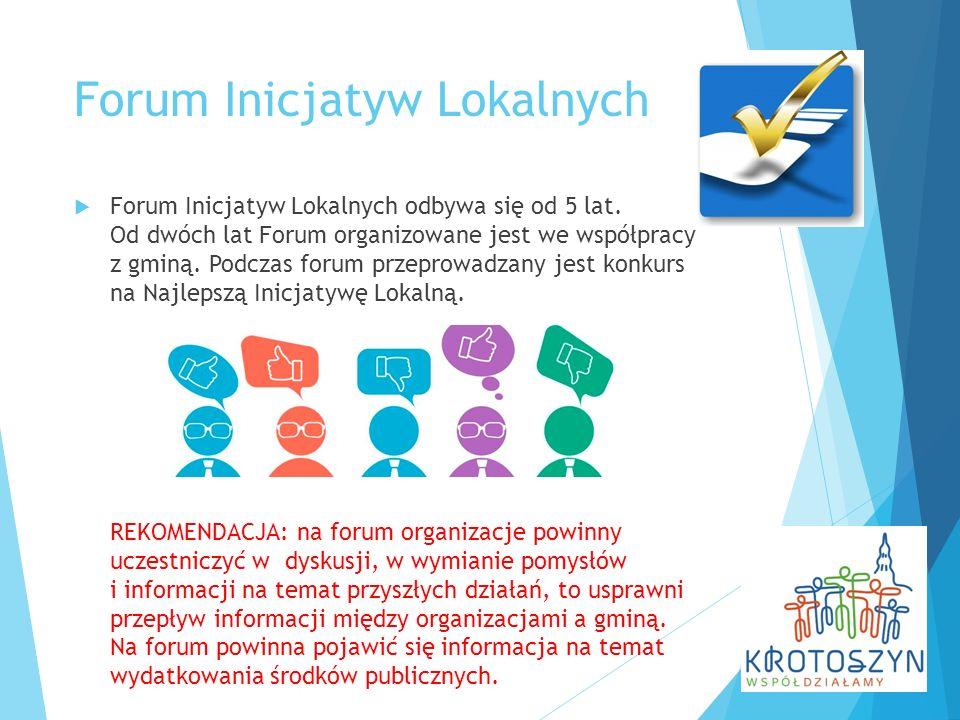 Forum Inicjatyw Lokalnych  Forum Inicjatyw Lokalnych odbywa się od 5 lat. Od dwóch lat Forum organizowane jest we współpracy z gminą. Podczas forum p