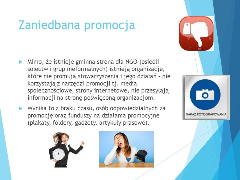 Zaniedbana promocja  Mimo, że istnieje gminna strona dla NGO (osiedli sołectw i grup nieformalnych) istnieją organizacje, które nie promują stowarzys