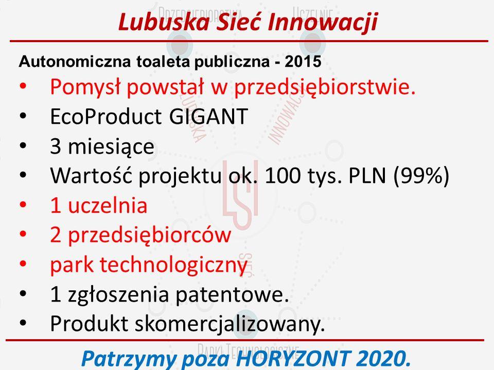Autonomiczna toaleta publiczna - 2015 Pomysł powstał w przedsiębiorstwie.