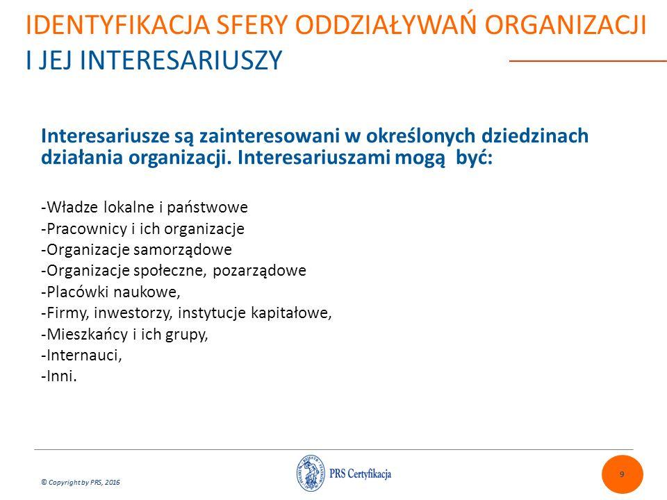 © Copyright by PRS, 2016 IDENTYFIKACJA SFERY ODDZIAŁYWAŃ ORGANIZACJI I JEJ INTERESARIUSZY Sfery oddziaływania (kontekst) organizacji silnie zależą od rodzaju i zakresu działań organizacji, jakie bierzemy pod uwagę.