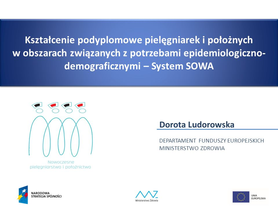 Kształcenie podyplomowe pielęgniarek i położnych w obszarach związanych z potrzebami epidemiologiczno- demograficznymi – System SOWA Dorota Ludorowska DEPARTAMENT FUNDUSZY EUROPEJSKICH MINISTERSTWO ZDROWIA