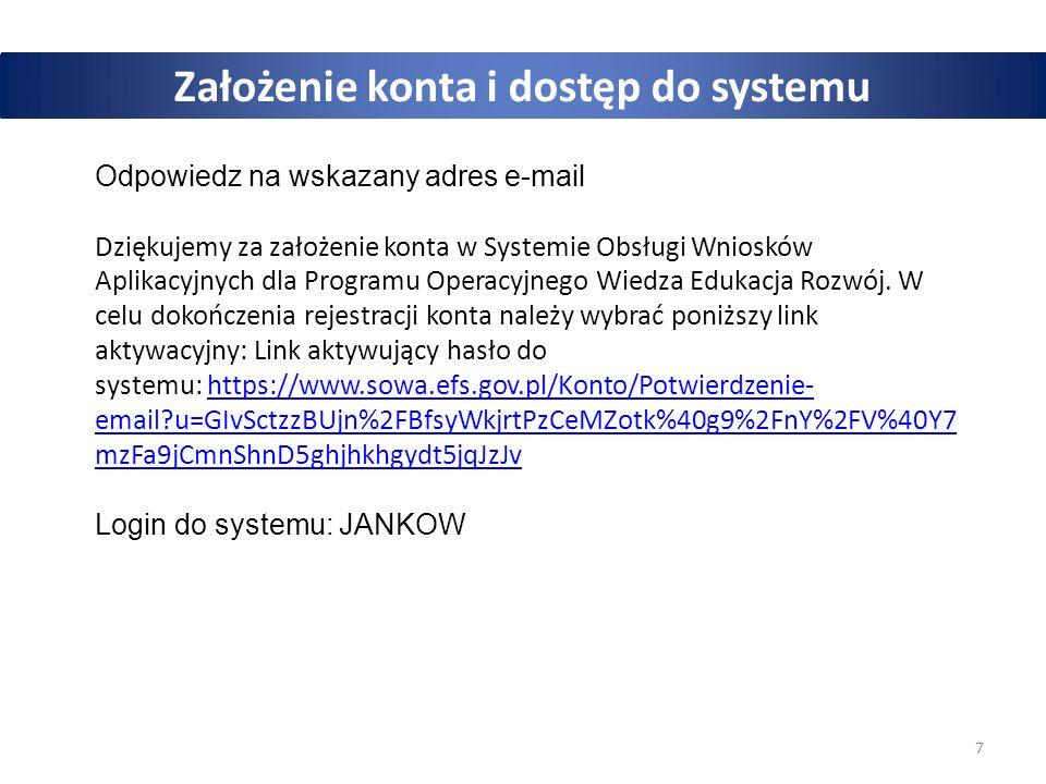 7 Założenie konta i dostęp do systemu Odpowiedz na wskazany adres e-mail Dziękujemy za założenie konta w Systemie Obsługi Wniosków Aplikacyjnych dla P