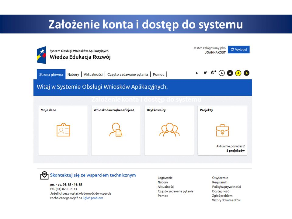 Założenie konta i dostęp do systemu