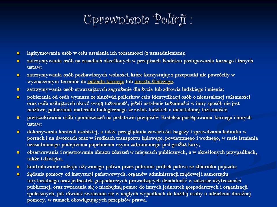 Uprawnienia Policji : legitymowania osób w celu ustalenia ich to ż samo ś ci (z uzasadnieniem); legitymowania osób w celu ustalenia ich to ż samo ś ci