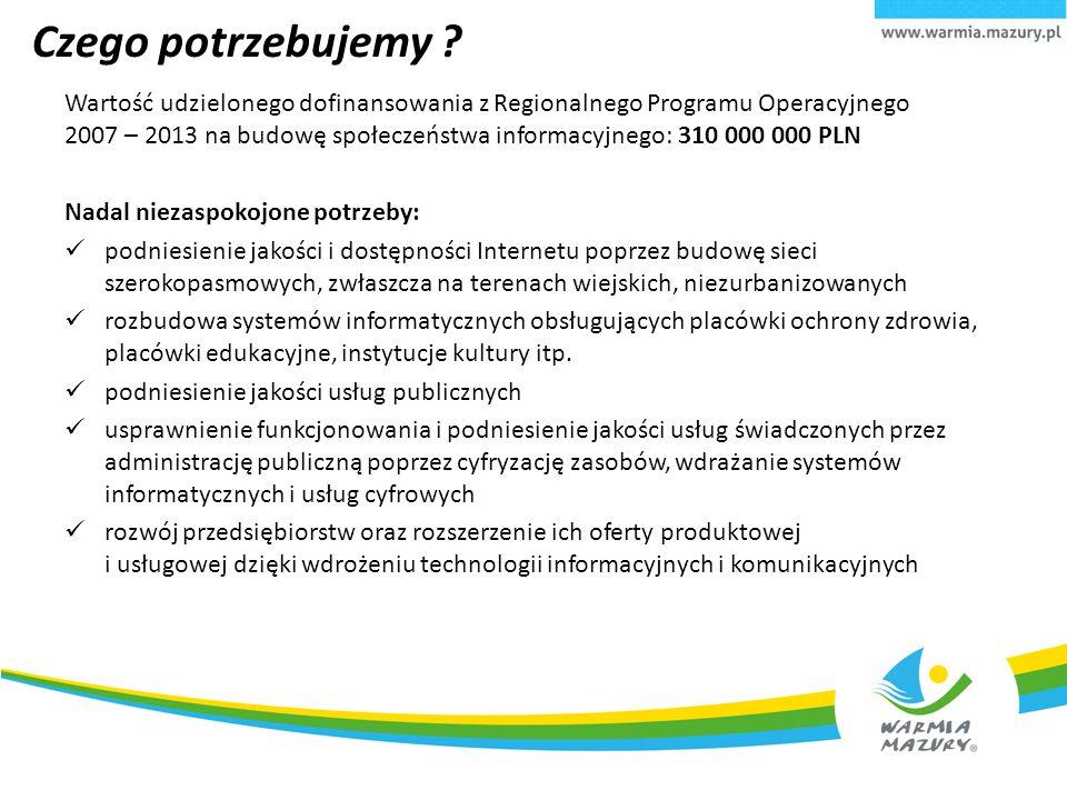 Czego potrzebujemy ? Wartość udzielonego dofinansowania z Regionalnego Programu Operacyjnego 2007 – 2013 na budowę społeczeństwa informacyjnego: 310 0