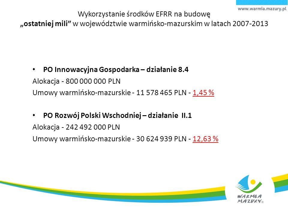 """Wykorzystanie środków EFRR na budowę """"ostatniej mili w województwie warmińsko-mazurskim w latach 2007-2013 PO Innowacyjna Gospodarka – działanie 8.4 Alokacja - 800 000 000 PLN Umowy warmińsko-mazurskie - 11 578 465 PLN - 1,45 % PO Rozwój Polski Wschodniej – działanie II.1 Alokacja - 242 492 000 PLN Umowy warmińsko-mazurskie - 30 624 939 PLN - 12,63 %"""