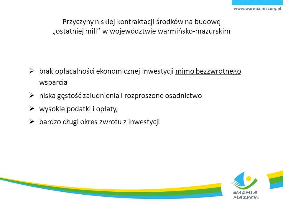 """Przyczyny niskiej kontraktacji środków na budowę """"ostatniej mili w województwie warmińsko-mazurskim  brak opłacalności ekonomicznej inwestycji mimo bezzwrotnego wsparcia  niska gęstość zaludnienia i rozproszone osadnictwo  wysokie podatki i opłaty,  bardzo długi okres zwrotu z inwestycji"""