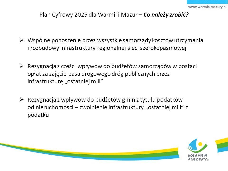 Plan Cyfrowy 2025 dla Warmii i Mazur – Co należy zrobić?  Wspólne ponoszenie przez wszystkie samorządy kosztów utrzymania i rozbudowy infrastruktury