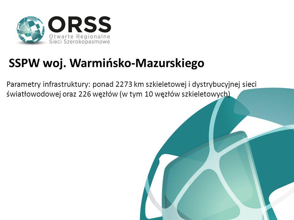 SSPW woj. Warmińsko-Mazurskiego Parametry infrastruktury: ponad 2273 km szkieletowej i dystrybucyjnej sieci światłowodowej oraz 226 węzłów (w tym 10 w