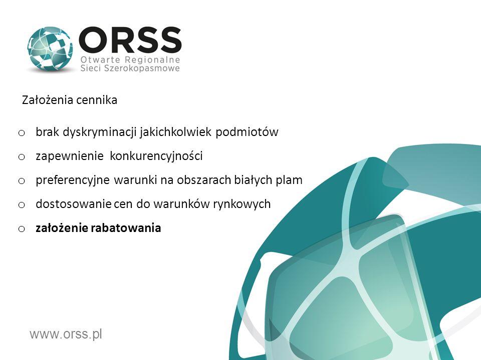 www.orss.pl o brak dyskryminacji jakichkolwiek podmiotów o zapewnienie konkurencyjności o preferencyjne warunki na obszarach białych plam o dostosowanie cen do warunków rynkowych o założenie rabatowania Założenia cennika