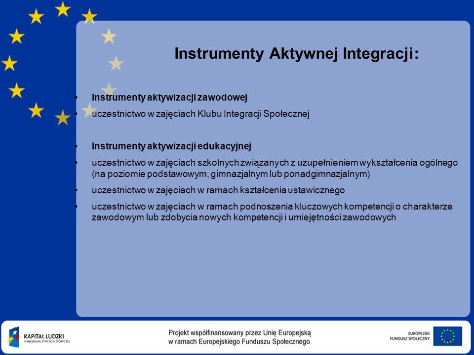 Instrumenty Aktywnej Integracji: Instrumenty aktywizacji zawodowej uczestnictwo w zajęciach Klubu Integracji Społecznej Instrumenty aktywizacji edukacyjnej uczestnictwo w zajęciach szkolnych związanych z uzupełnieniem wykształcenia ogólnego (na poziomie podstawowym, gimnazjalnym lub ponadgimnazjalnym) uczestnictwo w zajęciach w ramach kształcenia ustawicznego uczestnictwo w zajęciach w ramach podnoszenia kluczowych kompetencji o charakterze zawodowym lub zdobycia nowych kompetencji i umiejętności zawodowych