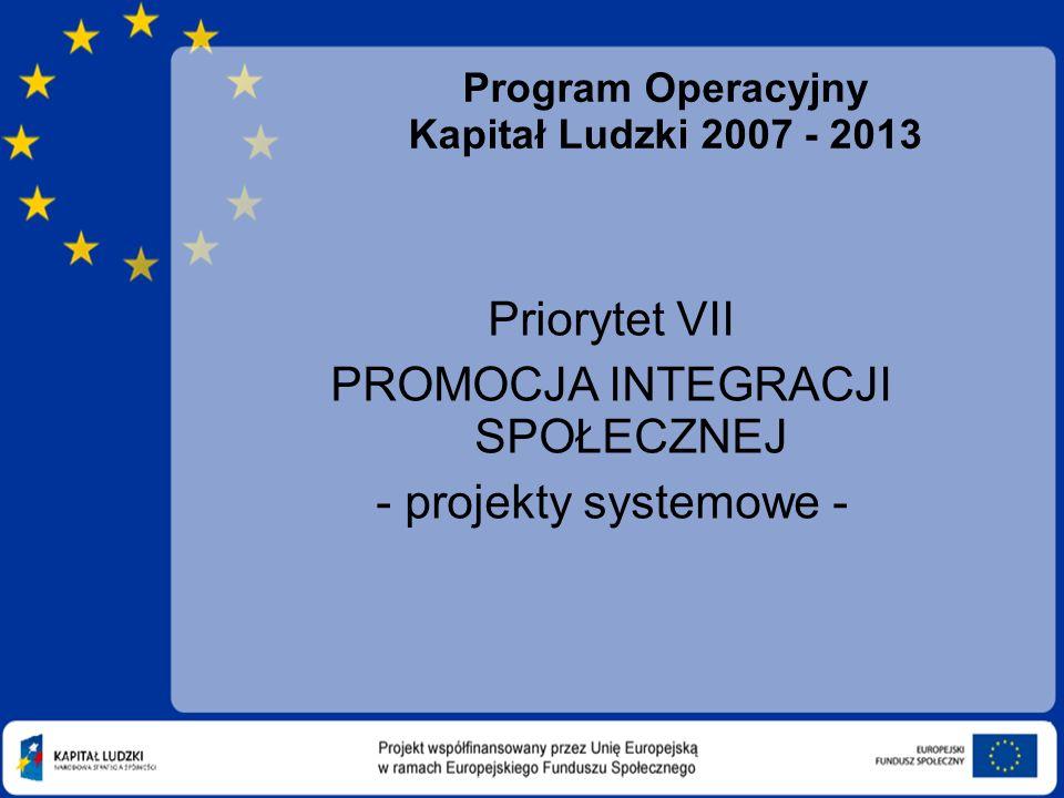 Program Operacyjny Kapitał Ludzki 2007 - 2013 Priorytet VII PROMOCJA INTEGRACJI SPOŁECZNEJ - projekty systemowe -