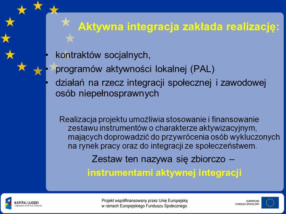 Aktywna integracja zakłada realizację: kontraktów socjalnych, programów aktywności lokalnej (PAL) działań na rzecz integracji społecznej i zawodowej osób niepełnosprawnych Realizacja projektu umożliwia stosowanie i finansowanie zestawu instrumentów o charakterze aktywizacyjnym, mających doprowadzić do przywrócenia osób wykluczonych na rynek pracy oraz do integracji ze społeczeństwem.