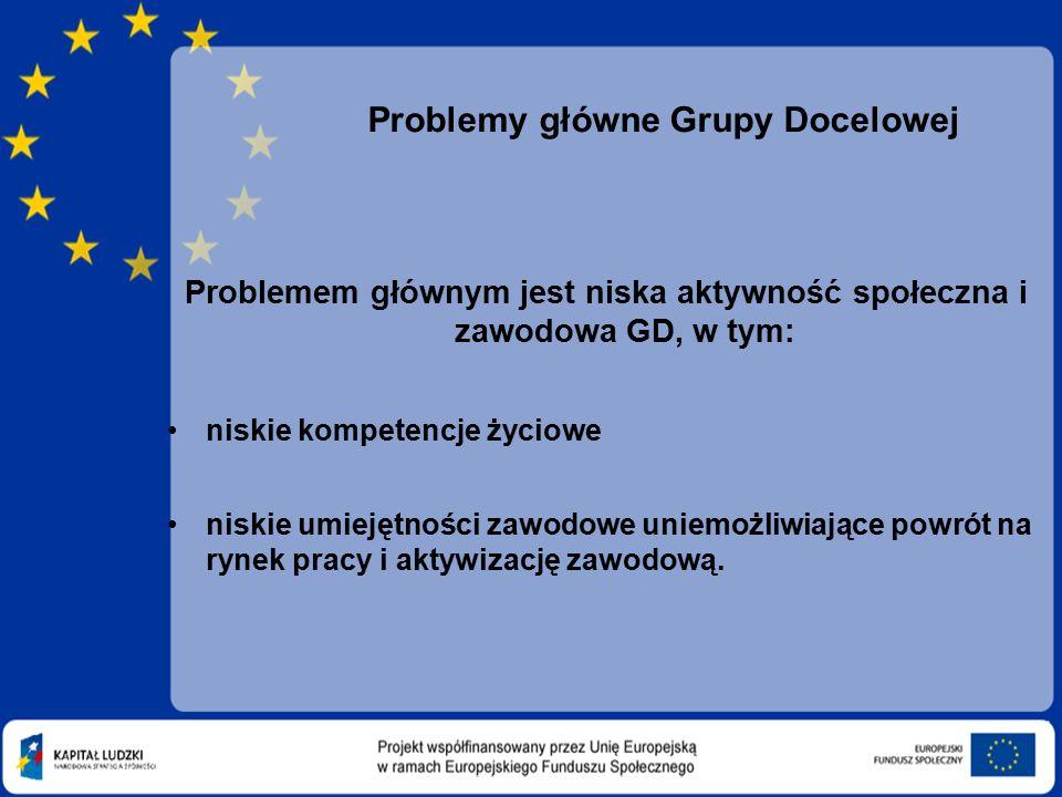 Problemy główne Grupy Docelowej Problemem głównym jest niska aktywność społeczna i zawodowa GD, w tym: niskie kompetencje życiowe niskie umiejętności zawodowe uniemożliwiające powrót na rynek pracy i aktywizację zawodową.