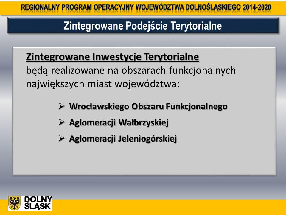 Zintegrowane Inwestycje Terytorialne Zintegrowane Inwestycje Terytorialne będą realizowane na obszarach funkcjonalnych największych miast województwa:  Wrocławskiego Obszaru Funkcjonalnego  Aglomeracji Wałbrzyskiej  Aglomeracji Jeleniogórskiej Zintegrowane Inwestycje Terytorialne Zintegrowane Inwestycje Terytorialne będą realizowane na obszarach funkcjonalnych największych miast województwa:  Wrocławskiego Obszaru Funkcjonalnego  Aglomeracji Wałbrzyskiej  Aglomeracji Jeleniogórskiej Zintegrowane Podejście Terytorialne