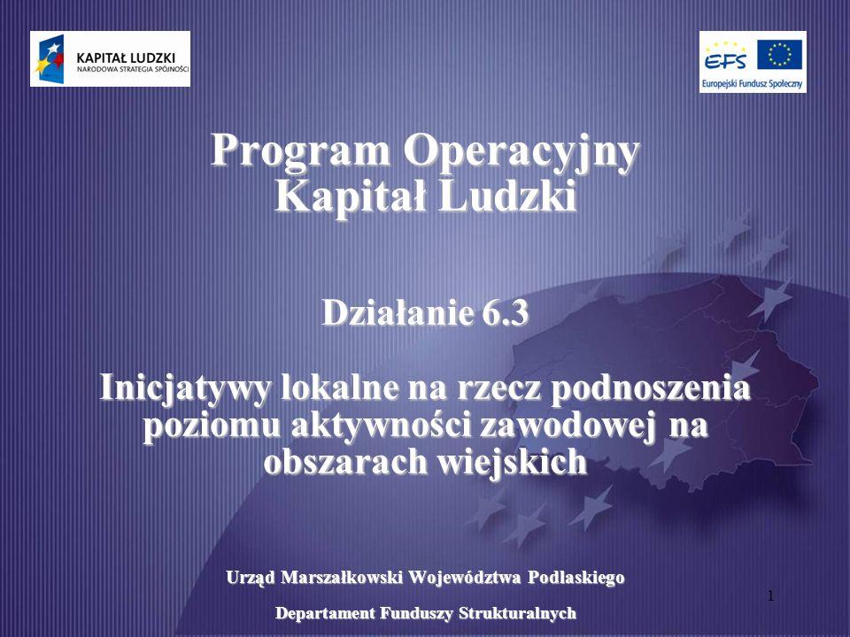 1 Program Operacyjny Kapitał Ludzki Działanie 6.3 Inicjatywy lokalne na rzecz podnoszenia poziomu aktywności zawodowej na obszarach wiejskich Urząd Marszałkowski Województwa Podlaskiego Departament Funduszy Strukturalnych