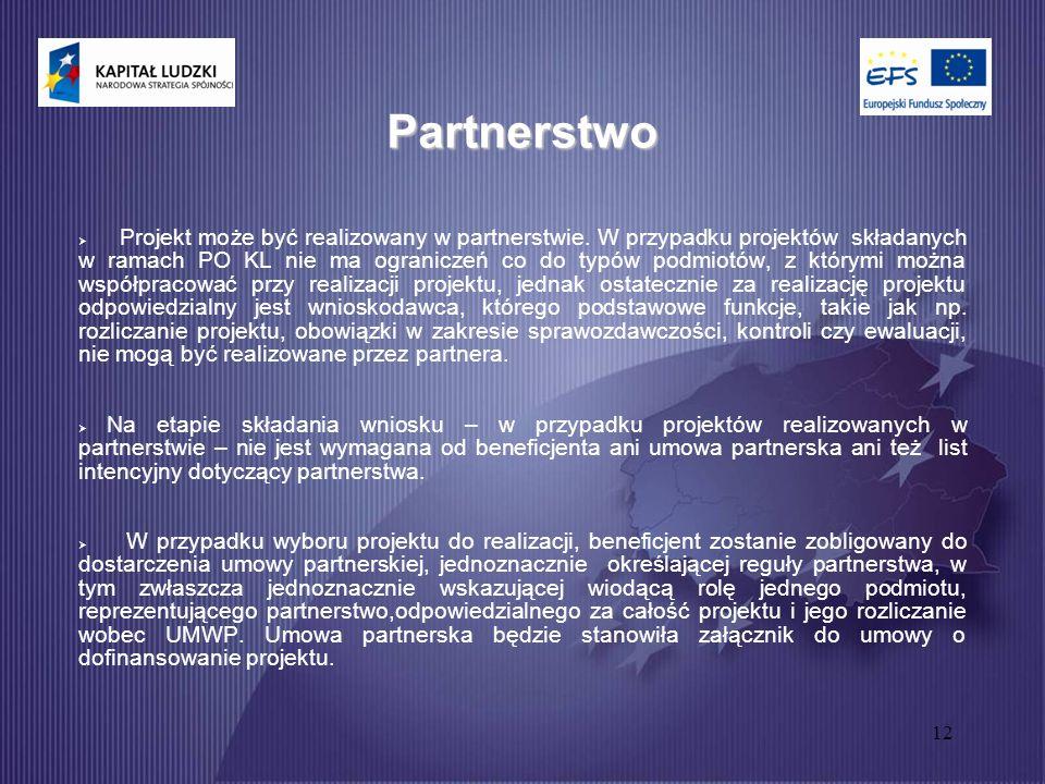 12 Partnerstwo  Projekt może być realizowany w partnerstwie.