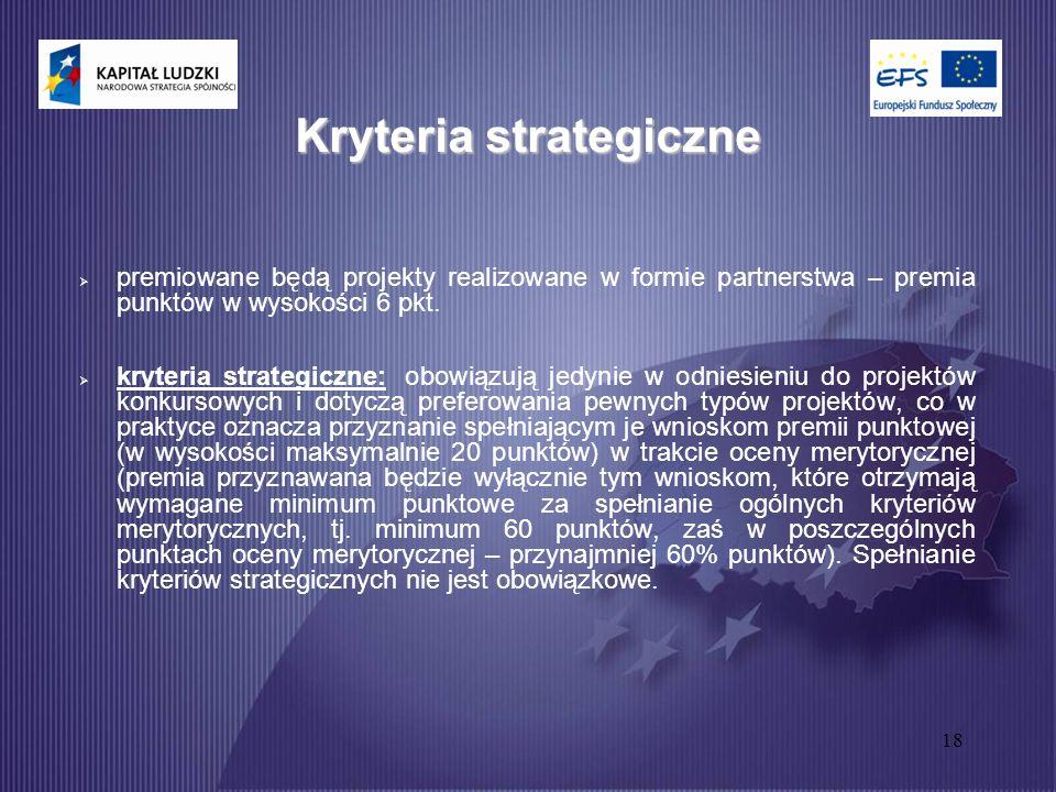18 Kryteria strategiczne  premiowane będą projekty realizowane w formie partnerstwa – premia punktów w wysokości 6 pkt.