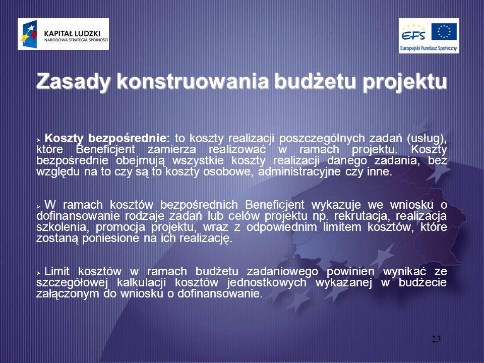 23 Zasady konstruowania budżetu projektu  Koszty bezpośrednie: to koszty realizacji poszczególnych zadań (usług), które Beneficjent zamierza realizować w ramach projektu.