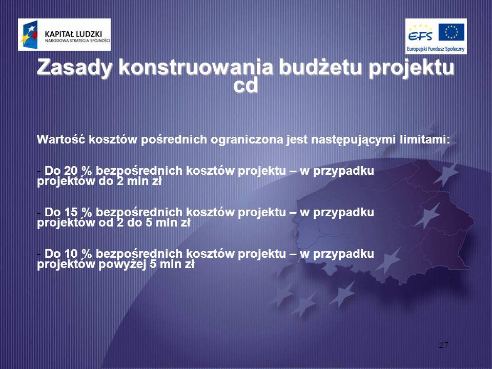 27 Zasady konstruowania budżetu projektu cd Wartość kosztów pośrednich ograniczona jest następującymi limitami: - Do 20 % bezpośrednich kosztów projektu – w przypadku projektów do 2 mln zł - Do 15 % bezpośrednich kosztów projektu – w przypadku projektów od 2 do 5 mln zł - Do 10 % bezpośrednich kosztów projektu – w przypadku projektów powyżej 5 mln zł