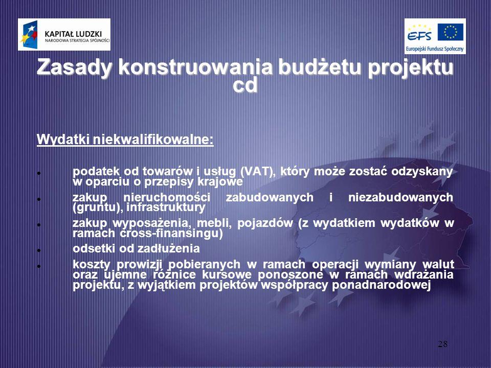 28 Zasady konstruowania budżetu projektu cd Wydatki niekwalifikowalne: podatek od towarów i usług (VAT), który może zostać odzyskany w oparciu o przepisy krajowe zakup nieruchomości zabudowanych i niezabudowanych (gruntu), infrastruktury zakup wyposażenia, mebli, pojazdów (z wydatkiem wydatków w ramach cross-finansingu) odsetki od zadłużenia koszty prowizji pobieranych w ramach operacji wymiany walut oraz ujemne różnice kursowe ponoszone w ramach wdrażania projektu, z wyjątkiem projektów współpracy ponadnarodowej