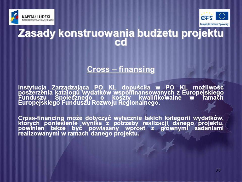 30 Zasady konstruowania budżetu projektu cd Cross – finansing Instytucja Zarządzająca PO KL dopuściła w PO KL możliwość poszerzenia katalogu wydatków współfinansowanych z Europejskiego Funduszu Społecznego o koszty kwalifikowalne w ramach Europejskiego Funduszu Rozwoju Regionalnego.