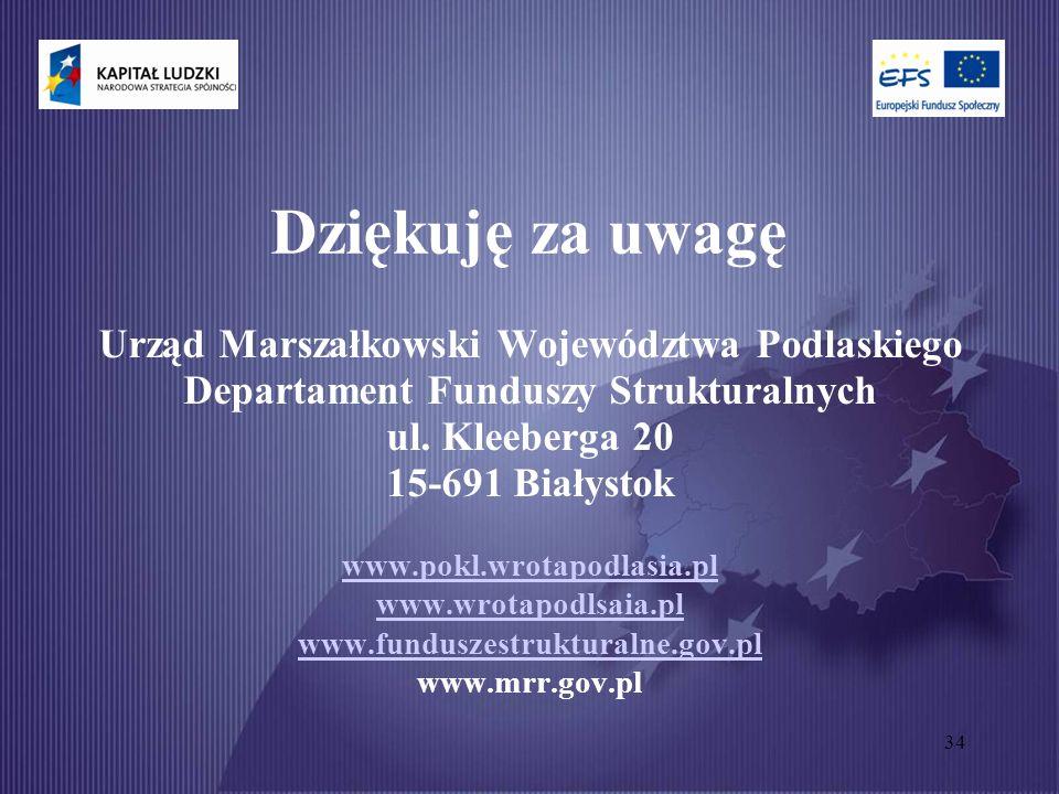 34 Dziękuję za uwagę Urząd Marszałkowski Województwa Podlaskiego Departament Funduszy Strukturalnych ul.