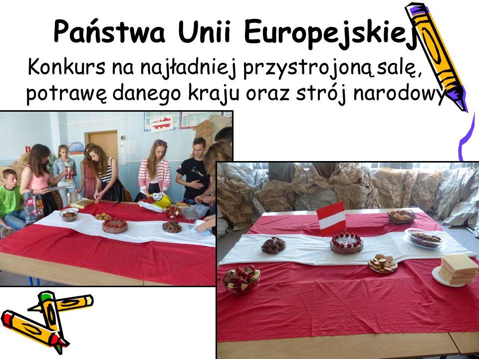 Państwa Unii Europejskiej Konkurs na najładniej przystrojoną salę, potrawę danego kraju oraz strój narodowy