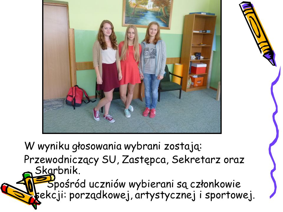 W wyniku głosowania wybrani zostają: Przewodniczący SU, Zastępca, Sekretarz oraz Skarbnik. Spośród uczniów wybierani są członkowie sekcji: porządkowej
