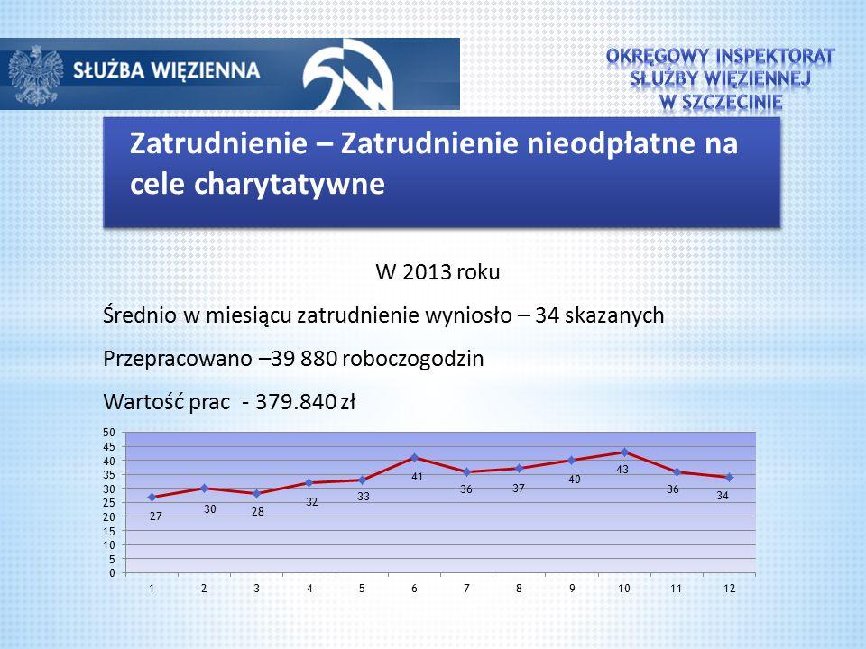 Zatrudnienie – Zatrudnienie nieodpłatne na cele charytatywne W 2013 roku Średnio w miesiącu zatrudnienie wyniosło – 34 skazanych Przepracowano –39 880 roboczogodzin Wartość prac - 379.840 zł