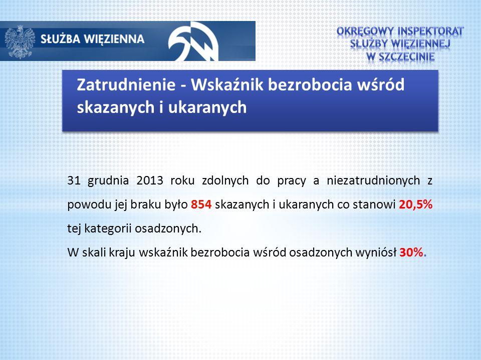 Zatrudnienie - Wskaźnik bezrobocia wśród skazanych i ukaranych 31 grudnia 2013 roku zdolnych do pracy a niezatrudnionych z powodu jej braku było 854 s