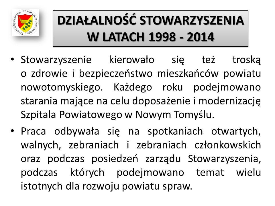 Stowarzyszenie kierowało się też troską o zdrowie i bezpieczeństwo mieszkańców powiatu nowotomyskiego. Każdego roku podejmowano starania mające na cel