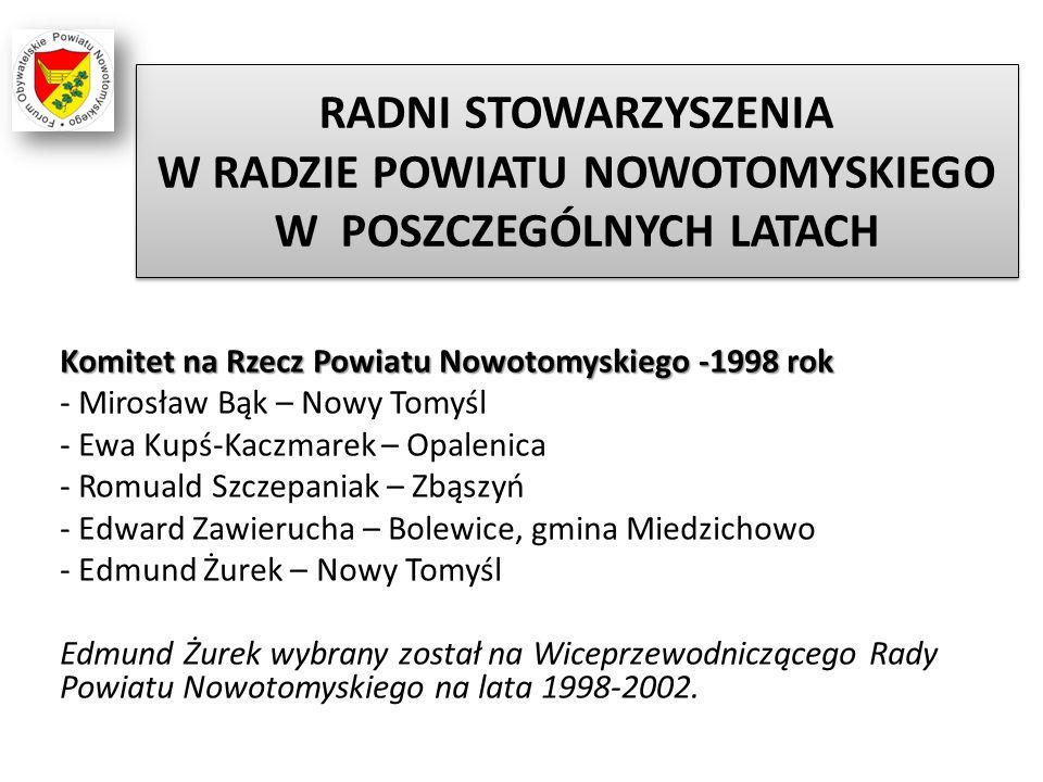 RADNI STOWARZYSZENIA W RADZIE POWIATU NOWOTOMYSKIEGO W POSZCZEGÓLNYCH LATACH Komitet na Rzecz Powiatu Nowotomyskiego -1998 rok - Mirosław Bąk – Nowy T