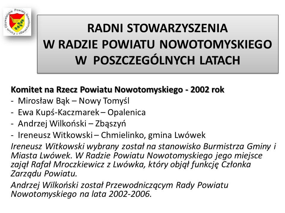 RADNI STOWARZYSZENIA W RADZIE POWIATU NOWOTOMYSKIEGO W POSZCZEGÓLNYCH LATACH Komitet na Rzecz Powiatu Nowotomyskiego - 2002 rok - Mirosław Bąk – Nowy