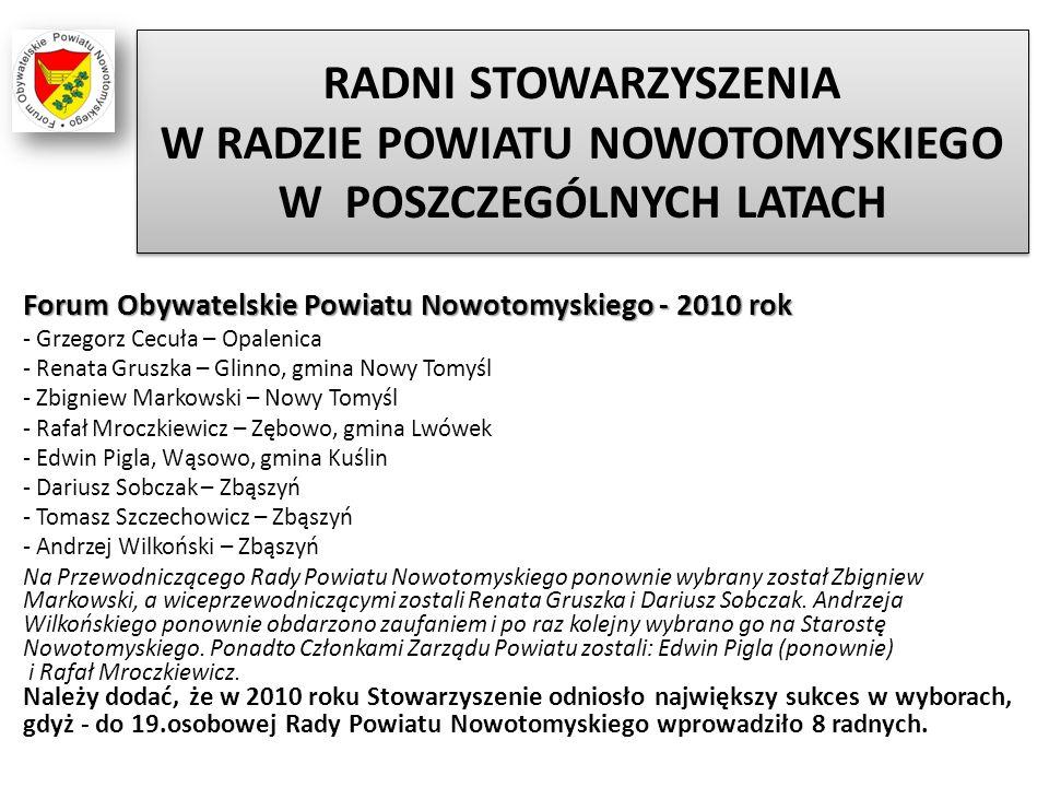 RADNI STOWARZYSZENIA W RADZIE POWIATU NOWOTOMYSKIEGO W POSZCZEGÓLNYCH LATACH Forum Obywatelskie Powiatu Nowotomyskiego - 2010 rok - Grzegorz Cecuła –