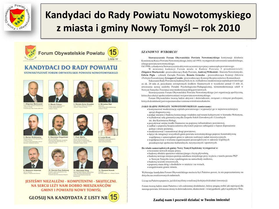 Kandydaci do Rady Powiatu Nowotomyskiego z miasta i gminy Nowy Tomyśl – rok 2010