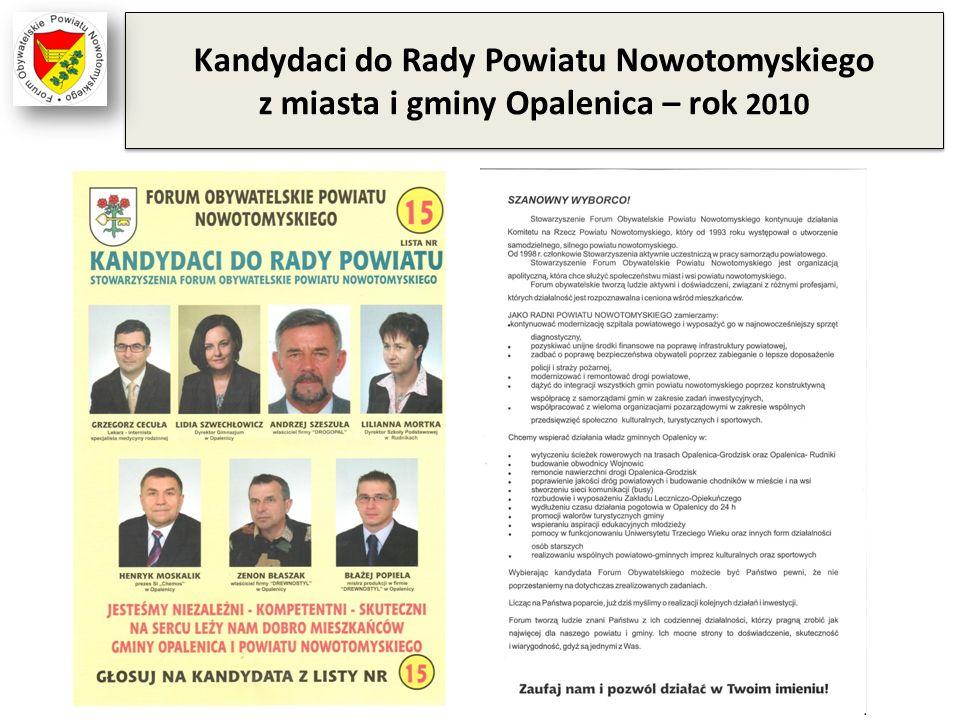 Kandydaci do Rady Powiatu Nowotomyskiego z miasta i gminy Opalenica – rok 2010