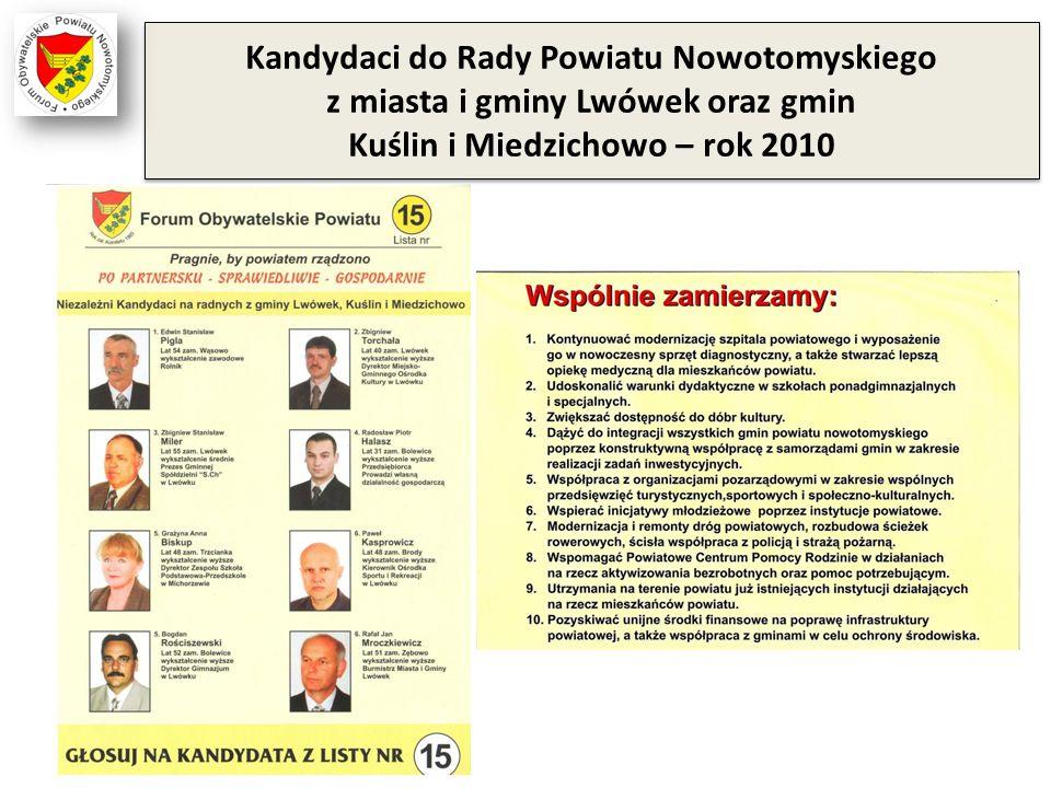 Kandydaci do Rady Powiatu Nowotomyskiego z miasta i gminy Lwówek oraz gmin Kuślin i Miedzichowo – rok 2010