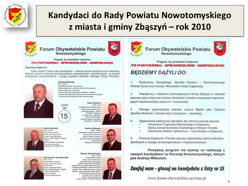 Kandydaci do Rady Powiatu Nowotomyskiego z miasta i gminy Zbąszyń – rok 2010