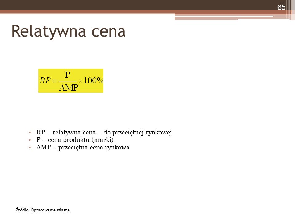 Relatywna cena RP – relatywna cena – do przeciętnej rynkowej P – cena produktu (marki) AMP – przeciętna cena rynkowa 65 Źródło: Opracowanie własne.