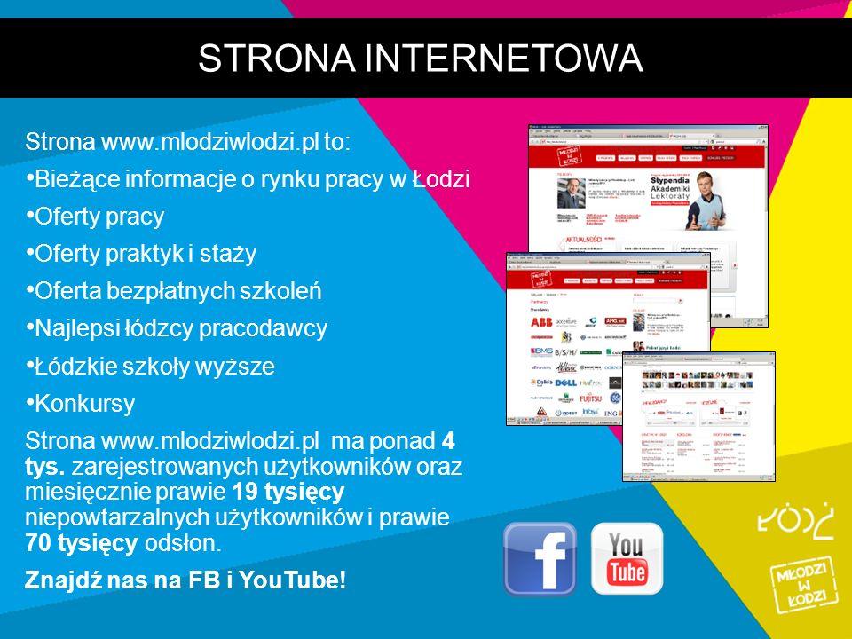 STRONA INTERNETOWA Strona www.mlodziwlodzi.pl to: Bieżące informacje o rynku pracy w Łodzi Oferty pracy Oferty praktyk i staży Oferta bezpłatnych szko