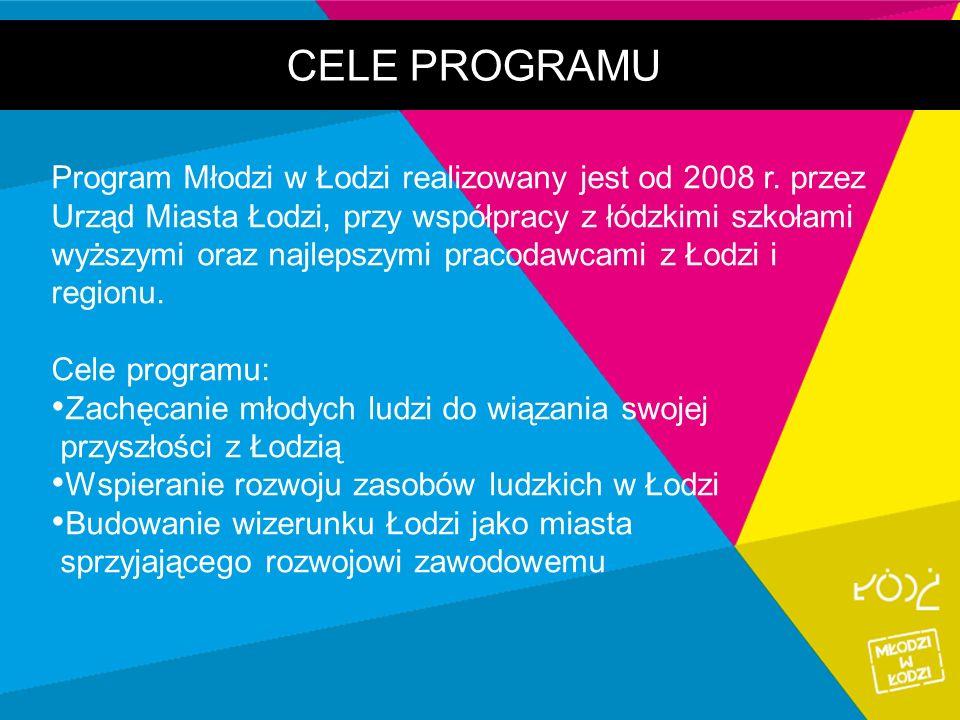 CELE PROGRAMU Program Młodzi w Łodzi realizowany jest od 2008 r. przez Urząd Miasta Łodzi, przy współpracy z łódzkimi szkołami wyższymi oraz najlepszy