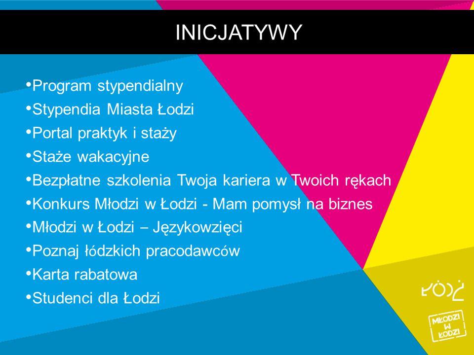 INICJATYWY Program stypendialny Stypendia Miasta Łodzi Portal praktyk i staży Staże wakacyjne Bezpłatne szkolenia Twoja kariera w Twoich rękach Konkur