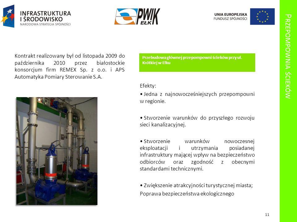 P RZEPOMPOWNIA ŚCIEKÓW Przebudowa głównej przepompowni ścieków przy ul. Krótkiej w Ełku Kontrakt realizowany był od listopada 2009 do października 201
