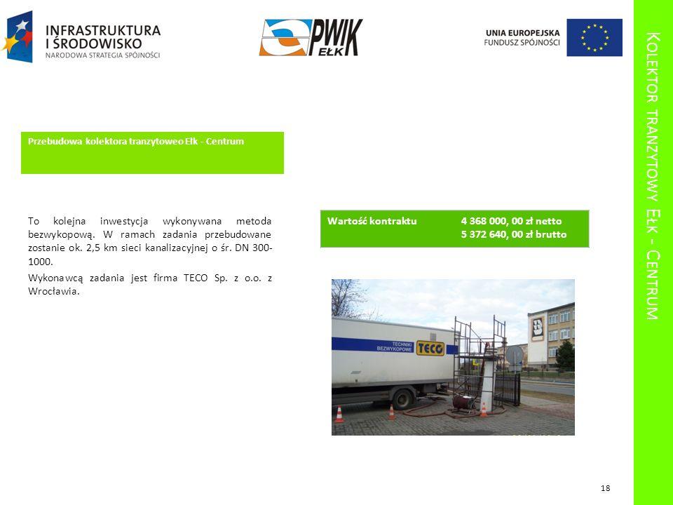 K OLEKTOR TRANZYTOWY E ŁK - C ENTRUM Przebudowa kolektora tranzytoweo Ełk - Centrum To kolejna inwestycja wykonywana metoda bezwykopową. W ramach zada