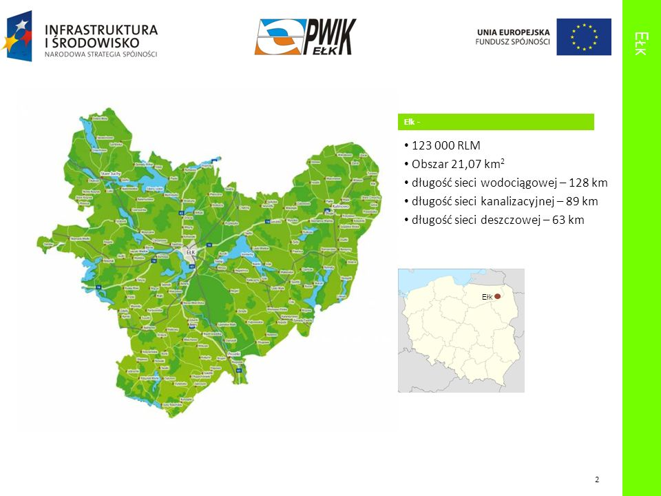 E ŁK Ełk - 123 000 RLM Obszar 21,07 km 2 długość sieci wodociągowej – 128 km długość sieci kanalizacyjnej – 89 km długość sieci deszczowej – 63 km Ełk 2
