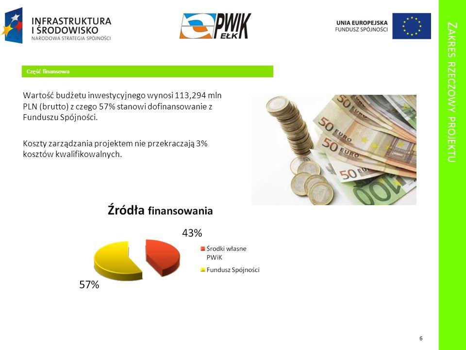 Z AKRES RZECZOWY PROJEKTU Część finansowa Wartość budżetu inwestycyjnego wynosi 113,294 mln PLN (brutto) z czego 57% stanowi dofinansowanie z Funduszu Spójności.