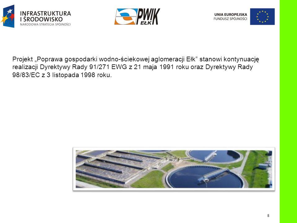 """P OPRAWA GOSPODARKI WODNO - ŚCIEKOWEJ AGLOMERACJI E Projekt """"Poprawa gospodarki wodno-ściekowej aglomeracji Ełk stanowi kontynuację realizacji Dyrektywy Rady 91/271 EWG z 21 maja 1991 roku oraz Dyrektywy Rady 98/83/EC z 3 listopada 1998 roku."""
