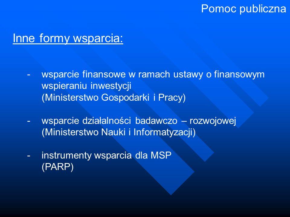 Inne formy wsparcia: - wsparcie finansowe w ramach ustawy o finansowym wspieraniu inwestycji (Ministerstwo Gospodarki i Pracy) - wsparcie działalności badawczo – rozwojowej (Ministerstwo Nauki i Informatyzacji) -instrumenty wsparcia dla MSP (PARP) Pomoc publiczna