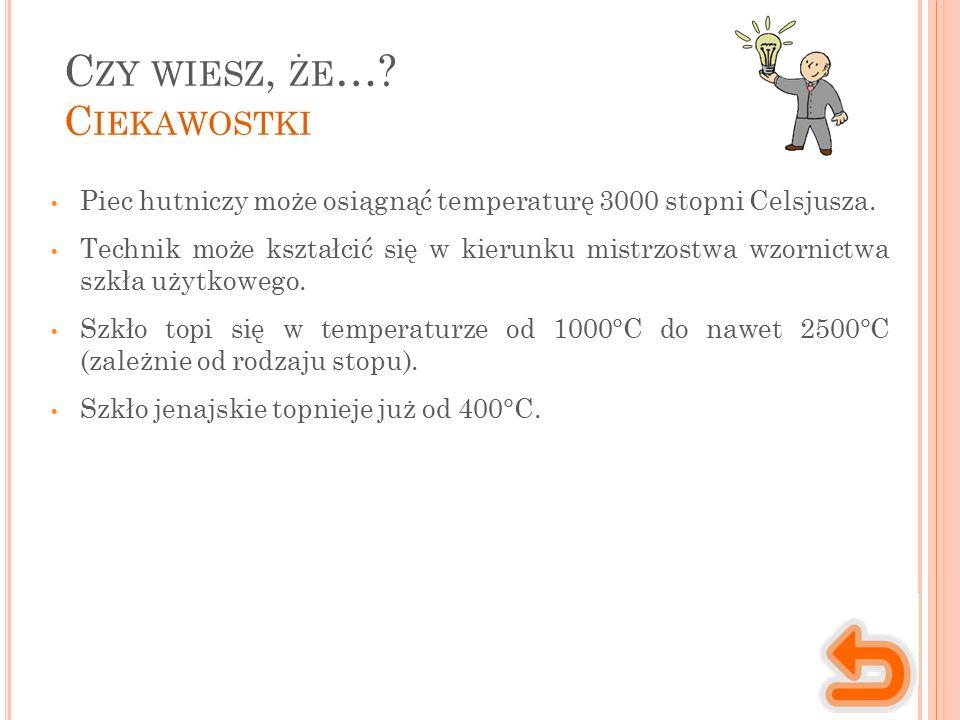 C ZY WIESZ, ŻE …. C IEKAWOSTKI Piec hutniczy może osiągnąć temperaturę 3000 stopni Celsjusza.